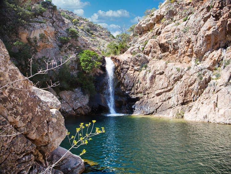 Waterfall Nieddu Mountain Mount Italy Travel Sardinia