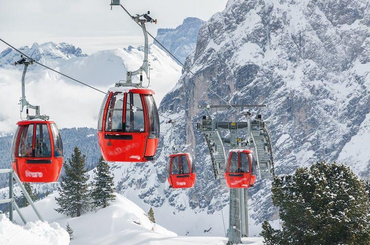 Ski Cable Cars Snow Alta Badia Travel Italy Dolomites