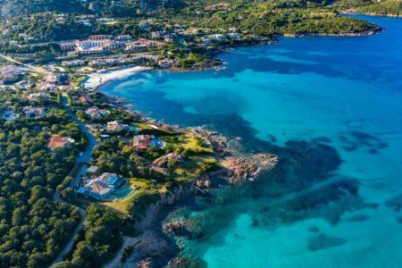Aerial,View,Of,Grande,Pevero,Beach,In,Costa,Smeralda,north,Sardinia,porto