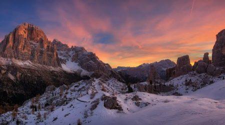 Sunset Ski Slopes Snow Travel Dolomites Italy